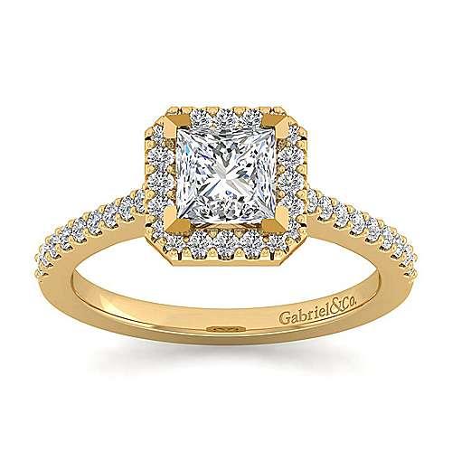 Carly 14k Yellow Gold Princess Cut Halo Engagement Ring angle 5