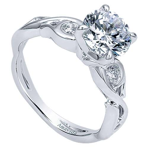 Carly 18k White Gold Round Straight Engagement Ring angle 3