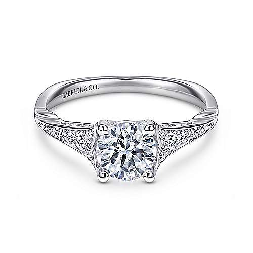 Gabriel - Carmelitilla 18k White Gold Round Split Shank Engagement Ring