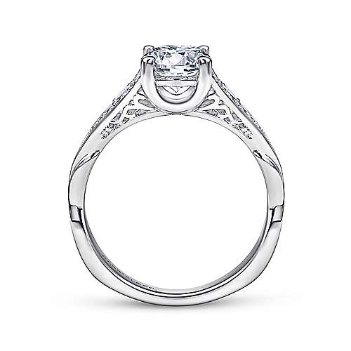 Carmelitilla 18k White Gold Round Split Shank Engagement Ring angle 2