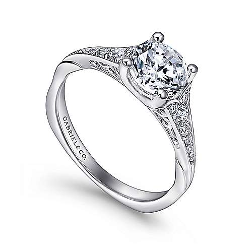 Carmelitilla 18k White Gold Round Split Shank Engagement Ring angle 3