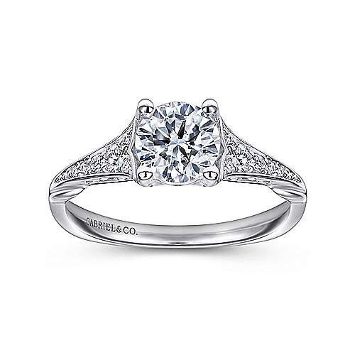 Carmelitilla 18k White Gold Round Split Shank Engagement Ring angle 5