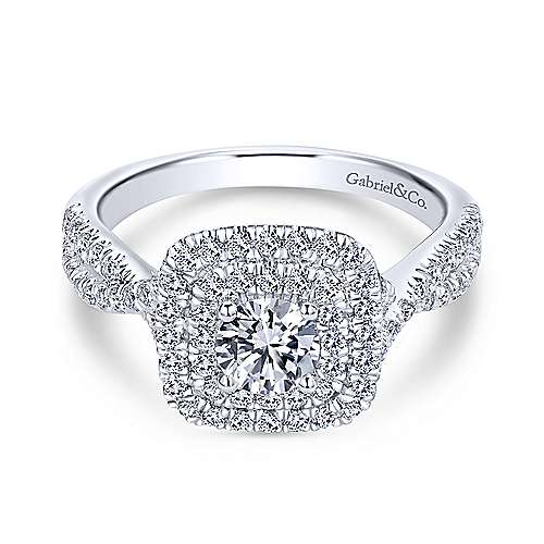 Gabriel - Carmen 14k White Gold Round Double Halo Engagement Ring