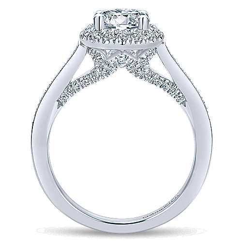 Carnation 14k White Gold Round Halo Engagement Ring angle 2