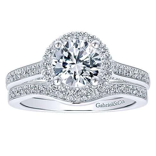 Carnation 14k White Gold Round Halo Engagement Ring angle 4