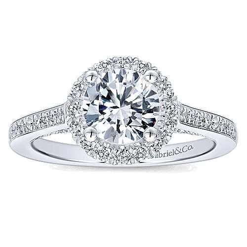 Carnation 14k White Gold Round Halo Engagement Ring angle 5