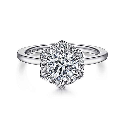 Gabriel - Carolina 14k White Gold Round Halo Engagement Ring