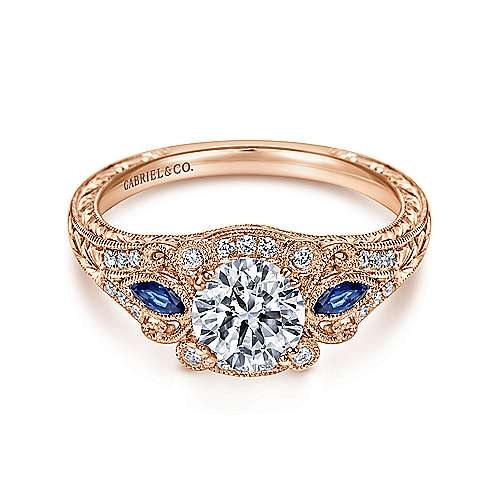 Gabriel - Carolina 18k Rose Gold Round Halo Engagement Ring