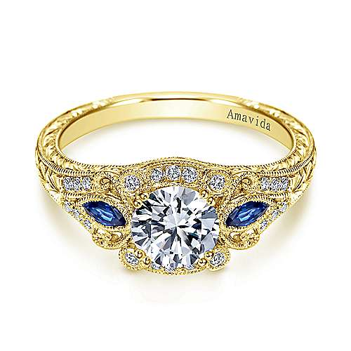 Gabriel - Carolina 18k Yellow Gold Round Halo Engagement Ring