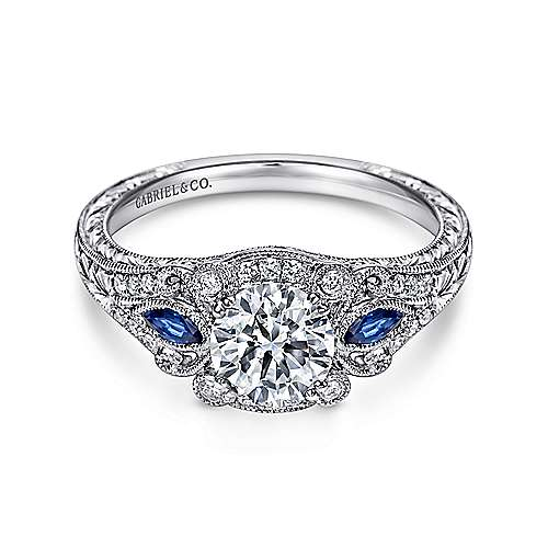 Carolina Platinum Round 3 Stones Halo Engagement Ring angle 1