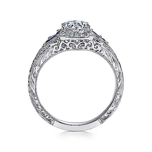 Carolina Platinum Round 3 Stones Halo Engagement Ring angle 2
