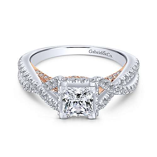 Gabriel - Caroline 14k White And Rose Gold Princess Cut Twisted Engagement Ring