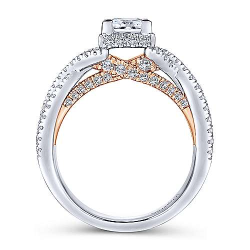 caroline 14k white and rose gold princess cut twisted engagement ring angle 2 - Wedding Engagement Rings