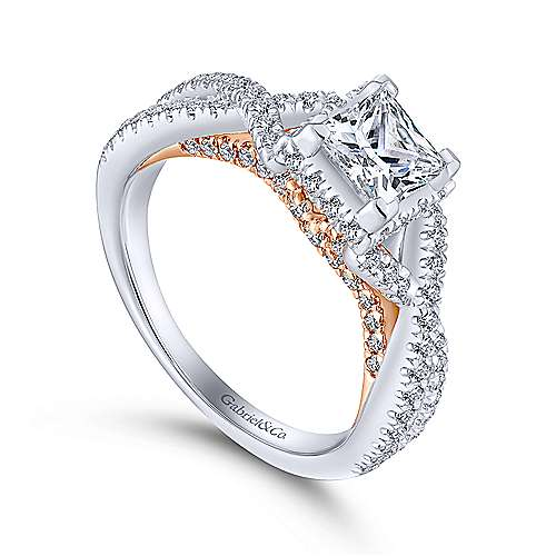 caroline 14k white and rose gold princess cut twisted engagement ring angle 3 - Wedding Engagement Rings