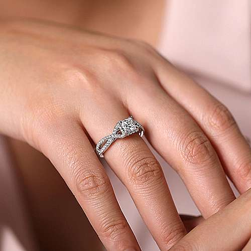 Caroline 14k White And Rose Gold Princess Cut Twisted Engagement Ring angle 6