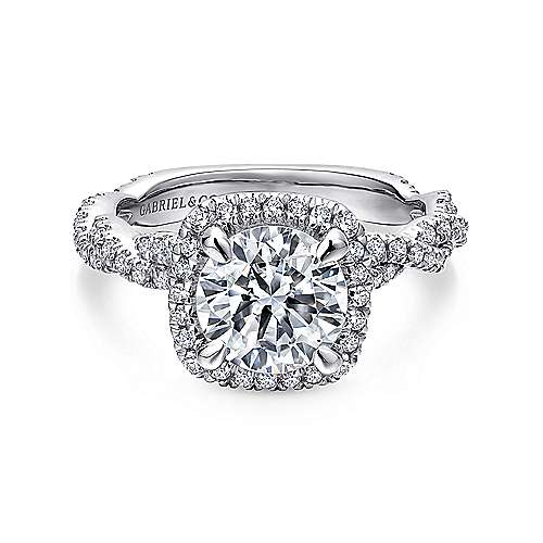 Carrick 18k White Gold Round Halo Engagement Ring