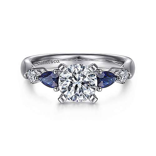 Gabriel - Carrie 14k White Gold Round 3 Stones Engagement Ring