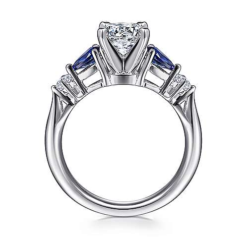carrie 14k white gold round 3 stones engagement ring angle 2 - Sapphire Wedding Rings