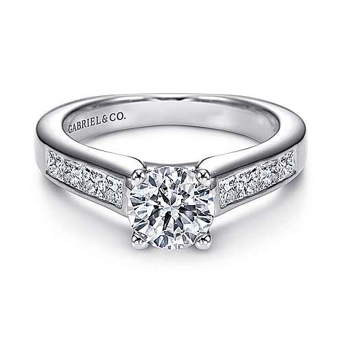 Gabriel - Carson 14k White Gold Round Straight Engagement Ring