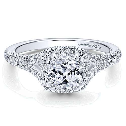 Gabriel - Carys 14k White Gold Cushion Cut Halo Engagement Ring