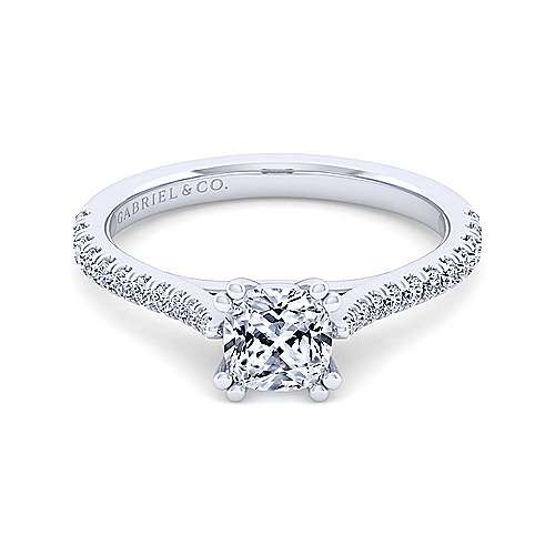 Gabriel - Casey 14k White Gold Cushion Cut Straight Engagement Ring