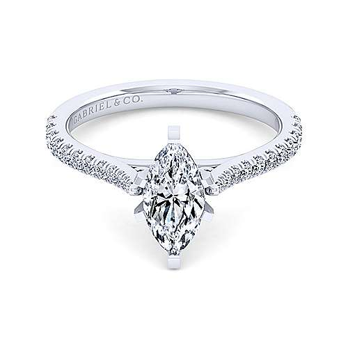 Gabriel - Casey 14k White Gold Marquise  Straight Engagement Ring