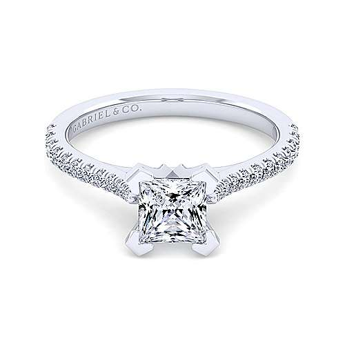 Gabriel - Casey 14k White Gold Princess Cut Straight Engagement Ring