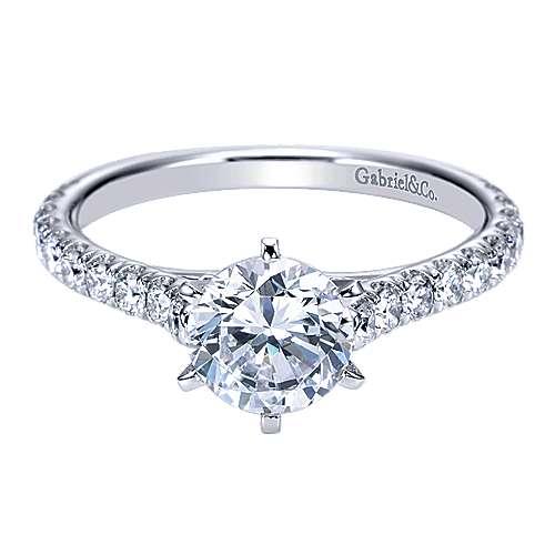 Gabriel - Casey 14k White Gold Round Straight Engagement Ring
