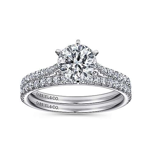 Casey 14k White Gold Round Straight Engagement Ring angle 4