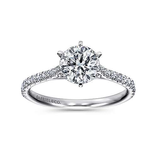 Casey 14k White Gold Round Straight Engagement Ring angle 5