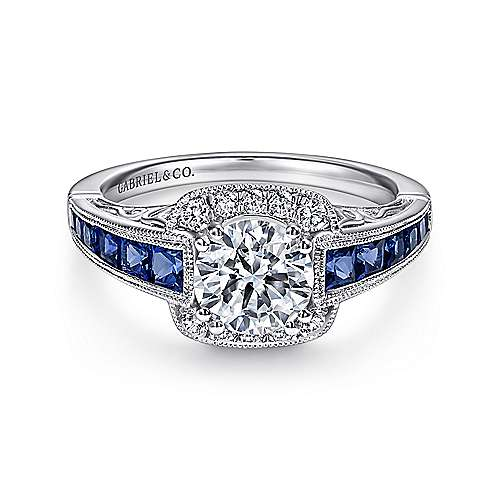 Gabriel - Cashmere 18k White Gold Round Halo Engagement Ring