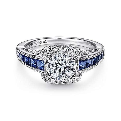 Cashmere 18k White Gold Round Halo Engagement Ring