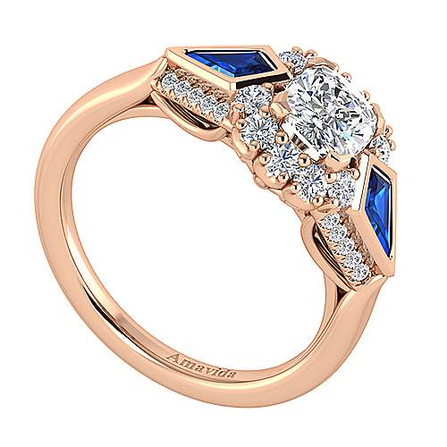 Caspia 18k Rose Gold Cushion Cut Halo Engagement Ring angle 3