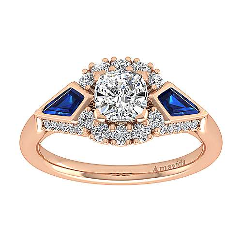 Caspia 18k Rose Gold Cushion Cut Halo Engagement Ring angle 5