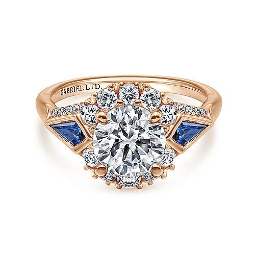 Gabriel - Caspia 18k Rose Gold Round Halo Engagement Ring