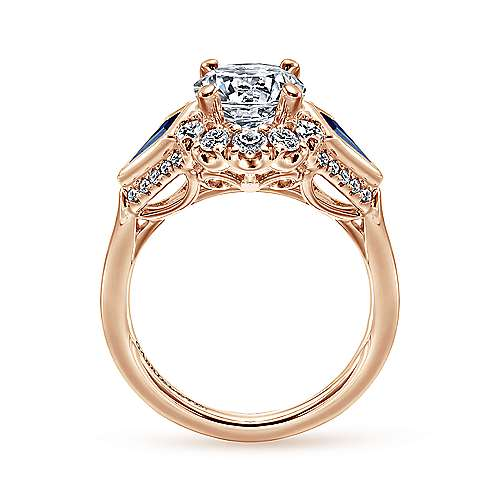 Caspia 18k Rose Gold Round Halo Engagement Ring angle 2