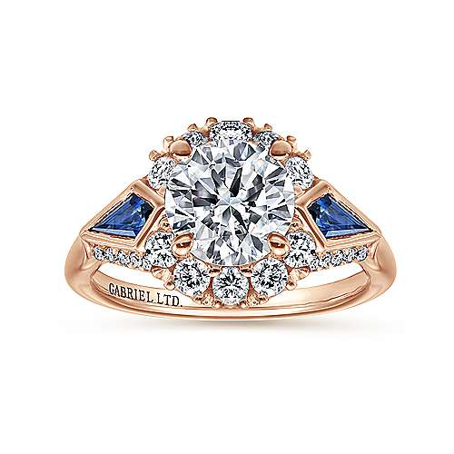 Caspia 18k Rose Gold Round Halo Engagement Ring angle 5