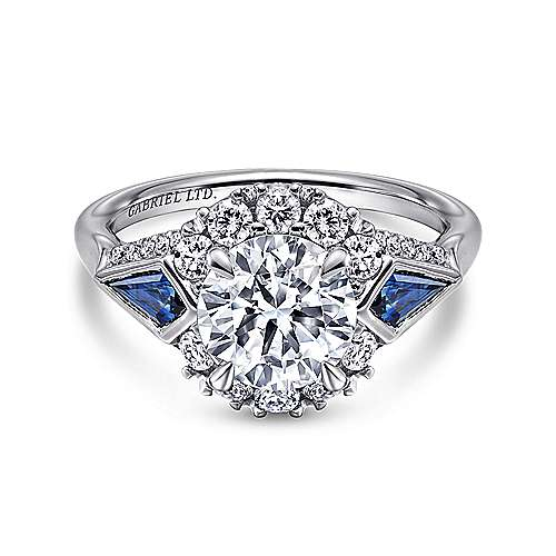 Gabriel - Caspia 18k White Gold Round 3 Stones Halo Engagement Ring