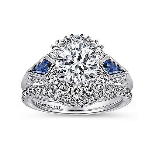 Caspia 18k White Gold Round 3 Stones Halo Engagement Ring