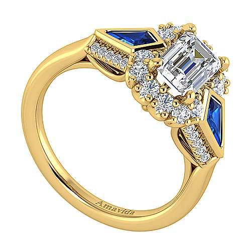 Caspia 18k Yellow Gold Emerald Cut Halo Engagement Ring