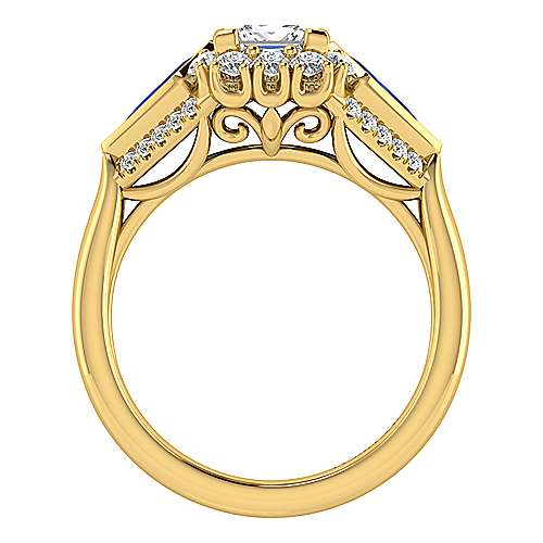 Caspia 18k Yellow Gold Princess Cut Halo Engagement Ring angle 2