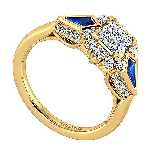Caspia 18k Yellow Gold Princess Cut Halo Engagement Ring angle 3