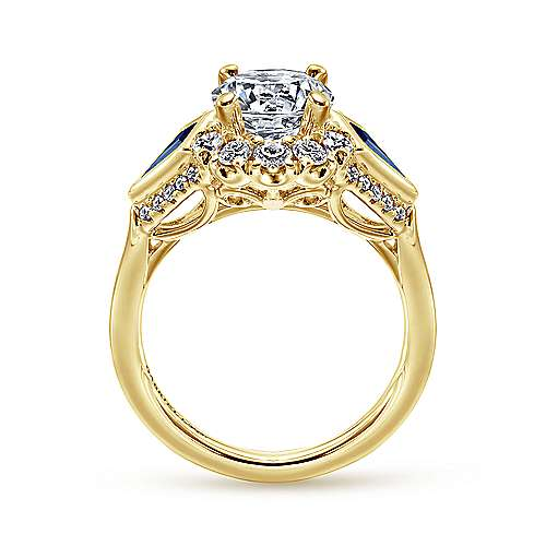 Caspia 18k Yellow Gold Round Halo Engagement Ring angle 2