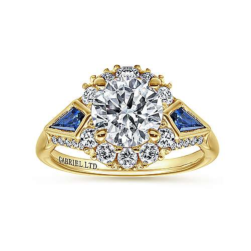 Caspia 18k Yellow Gold Round Halo Engagement Ring angle 5