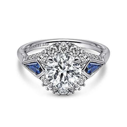 Gabriel - Caspia Platinum Round 3 Stones Halo Engagement Ring