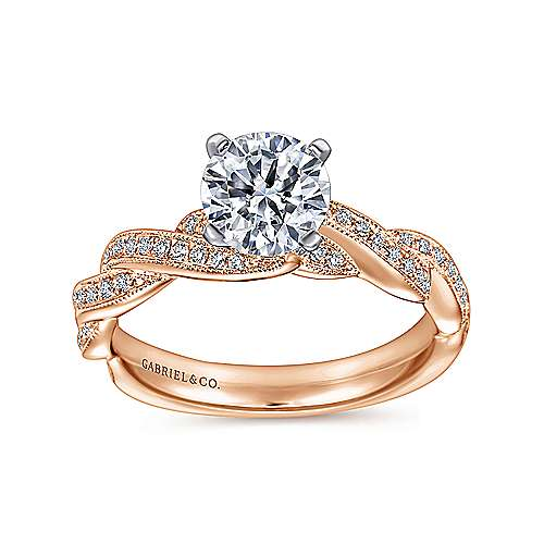 Cassidy 14k White And Rose Gold Round Twisted Engagement Ring angle 5