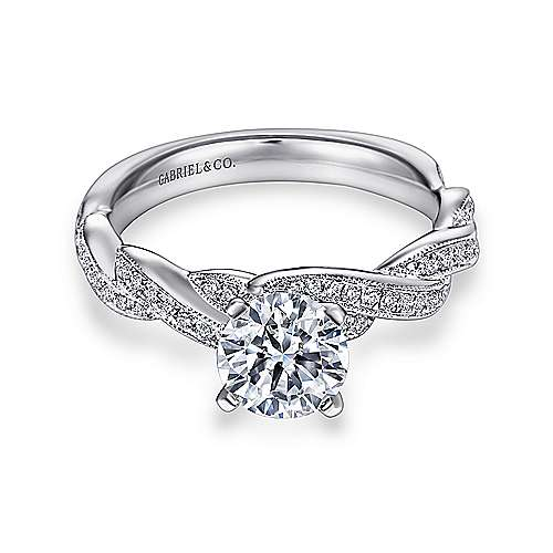 Gabriel - Cassidy 14k White Gold Round Twisted Engagement Ring