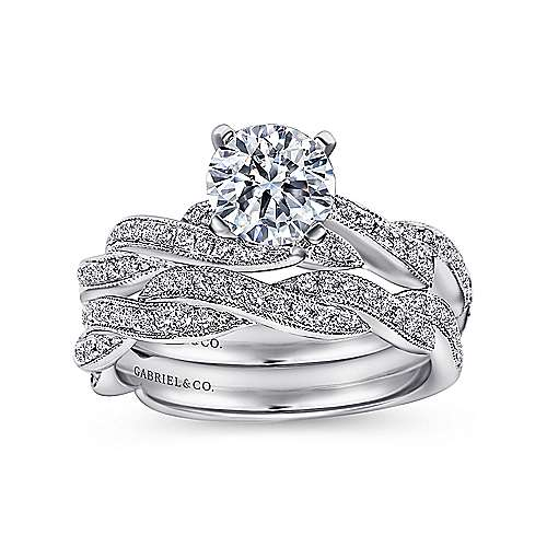 Cassidy 14k White Gold Round Twisted Engagement Ring