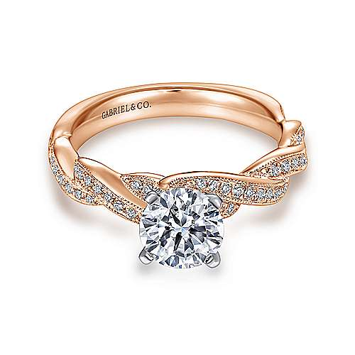 Gabriel - Cassidy 14k White/pink Gold Round Twisted Engagement Ring