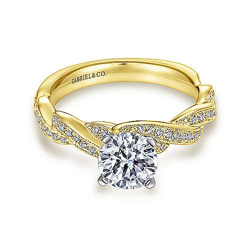 Gabriel - Cassidy 14k Yellow And White Gold Round Twisted Engagement Ring